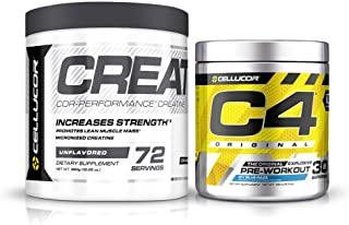 Cellucor Pre Workout & Creatine Bundle, C4 Original Pre Workout Powder, Icy Blue Razz, 30 Servings + Cor Performance Creat...