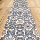 Alfombra de vinilo para cocina, baño – por medio metro – Alfombra de vinilo, fondo de PVC expandido – 50 cm de ancho (Vintage Blue)
