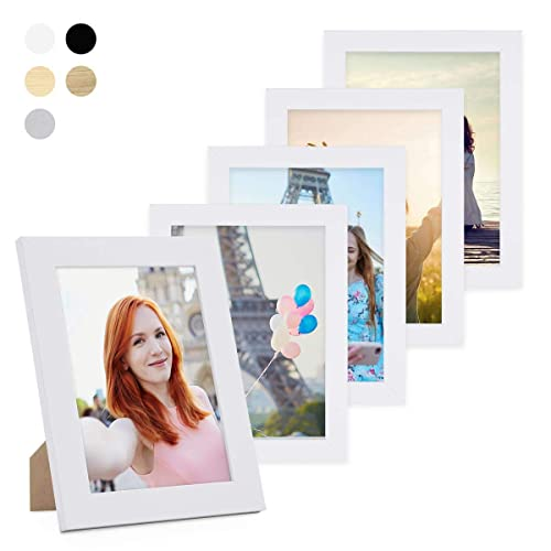Photolini Lot de 5 Cadres 10x15 cm Collection Basique Moderne Blanc en MDF Comprenant Accessoires/Collage de Photos/galerie d'images/Multi Cadre Photo Mural