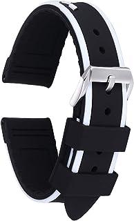 20mm 22mm 24mm Silicone Watch Band Replacement Rubber Watch Strap Waterproof Stripe Pattern Watch Bracelet for Men Women