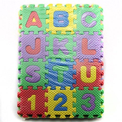 ACHICOO Kinderspielmatte, AKDSteel 36 Stück Kinder Cartoon Buchstaben Zahlen Schaum Spielpuzzle Matte Boden Teppich Teppich für Baby Kinder Home Decoration Kinder, Freunde