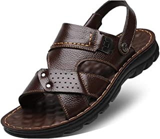 SHENTIANWEI Fashion Sandals for Men Walking Casual Beach Shoes Summer Outdoor Slipper Slip on Genuine Leather Open Toe Flat Heel Anti-Slip Wear Resistant