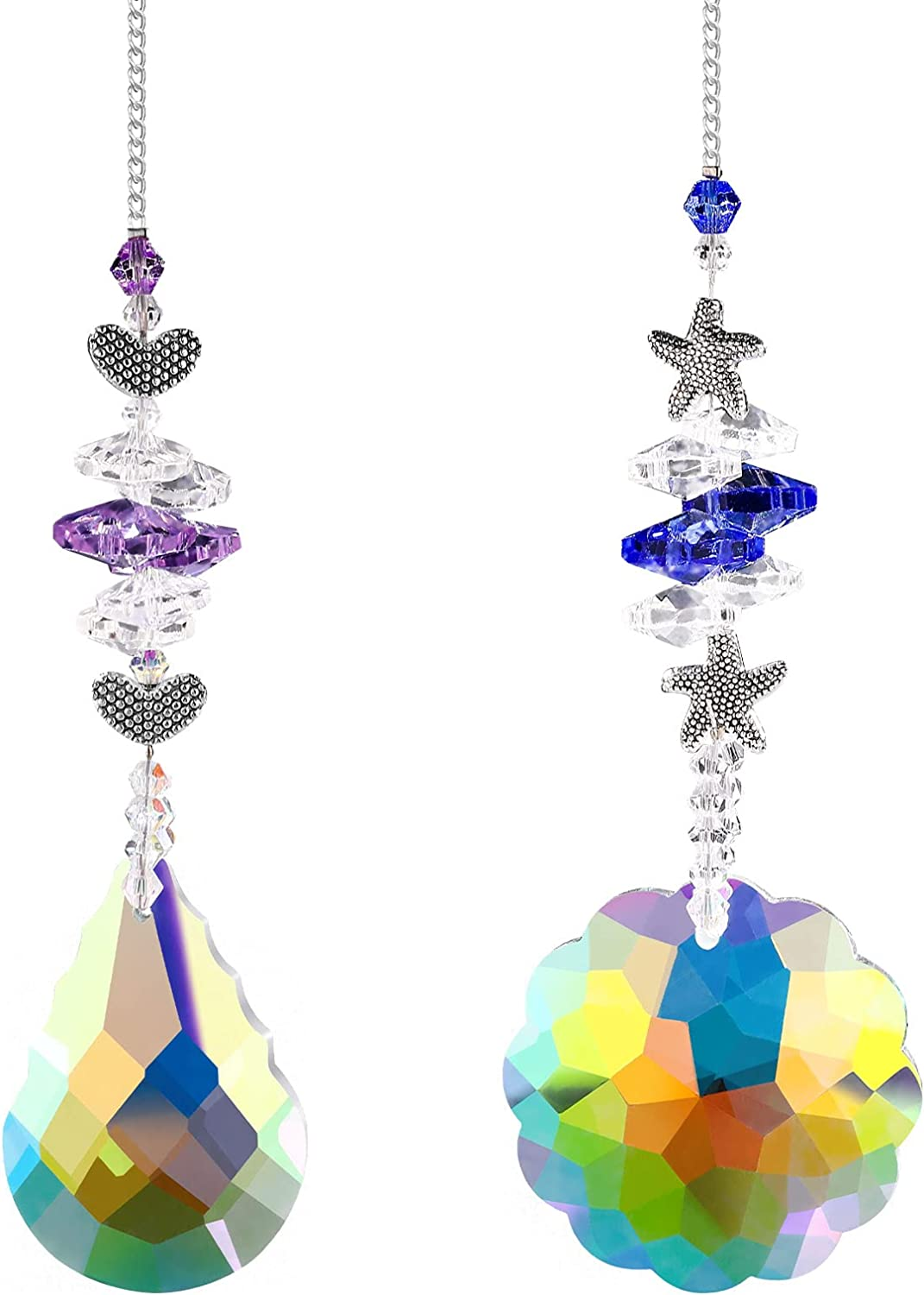 GOUHRRY 2 Pieces Ultra-Cheap Deals Crystals Ranking TOP2 Suncatcher Heart Hanging Crystal Star