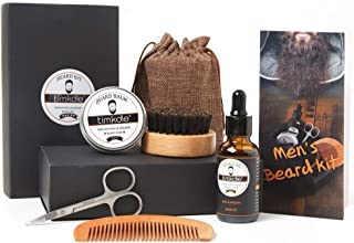 TIMKDLE Beard Grooming Kit for Men 100% Natural Plan Extract for Moisturizing and Beard Care Beard Grooming & Trimming Travel Kits Scissors, Beard Oil, Beard Balm, Comb, Brush, Men's Gift
