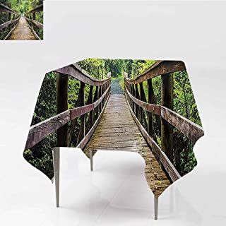 FANOEWI Creative Square Tablecloth Rustic Wooden Walking Bridge Limberlost Trail in Shenandoah National Park Virginia View Buffet Table,Parties,Holiday Dinner,Wedding,Picnic,Kitchen Green Brown 54x54