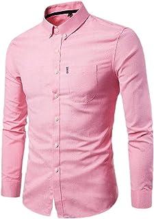 Paixpays Mens Shirt New Splicing Slim Long Sleeve