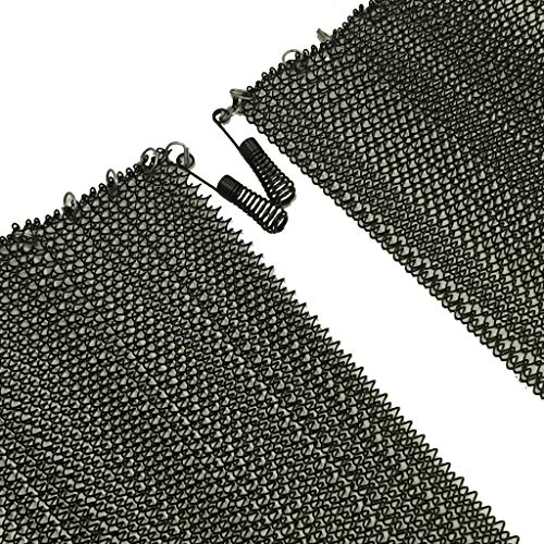 """Fireplace Replacement Black Hanging Mesh Curtain Screens Two (2) Panels 23"""" High X 24"""" Wide with Pulls"""