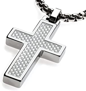 Unique Tungsten Cross Pendant. White Carbon Fiber Inlay with 4mm Wide Surgical Stainless Steel Box Chain.