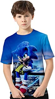 Silver Basic Camiseta Deportiva para Niños con Sonic The Hedgehog Gráfico de Dibujos Animados Impreso en 3D Top de Verano ...