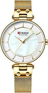 Curren Woman Watches Waterproof Alloy Case Stainless Steel Band Quartz Watch Fashion Exquisite Wristwatch