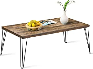 Giantex Rustic Coffee Table with Wooden Top and Metal Legs, Large Sofa Table Painted with Spray Paint, Wooden Table with Big Surface for Living Room, Home Office, Modern Coffee Table (Walnut)