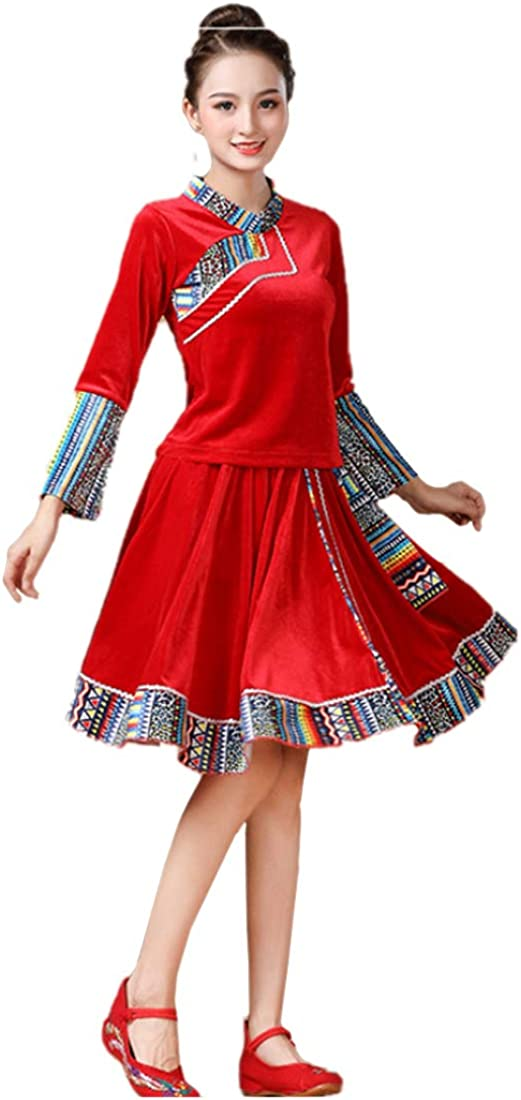 Inlefen Women's Printing Cuff Slim Fit Tops Chinese Style Set Dancing Outfit