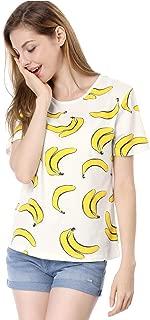 Women's Short-Sleeve Banana Printing Casual T-Shirt