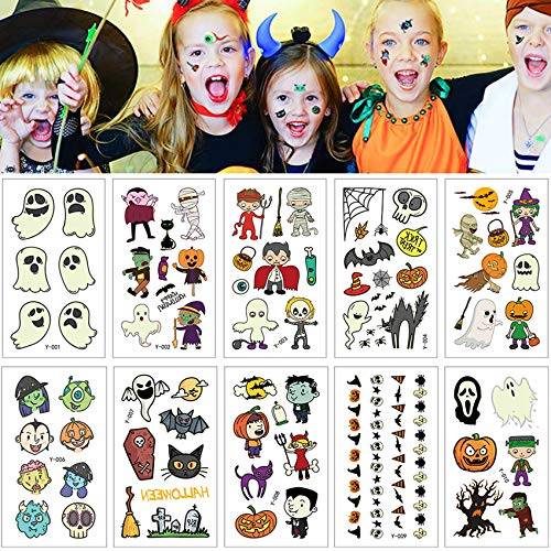 165×Halloween Temporäre Tattoo Aufkleber,Halloween Tattoos,Temporäre Kindertattoos Set,Hexen Kürbis Tattoo Aufkleber,Fledermaus Tattoo Aufkleber,Tattoo Kinder für Halloween Party Prop Dekorationen(C)