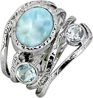 YoTreasure Larimar Blue Topaz Ring 925 Sterling Silver...