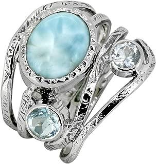 Larimar Blue Topaz Ring 925 Sterling Silver Designer Jewelry