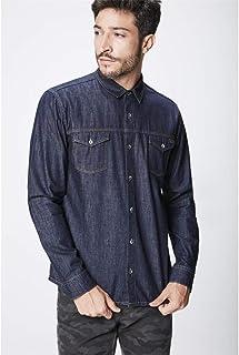 Camisa Jeans Escuro Masculina