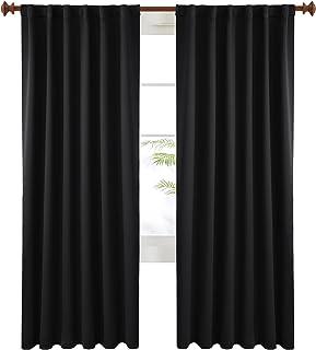 Deconovo Black Blackout Curtains 84 Inch Long, Back Tab and Rod Pocket Blackout Panels - 2 Panels, 52x84 Inch, Blackout Cu...