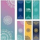UCOOLY Printed Yoga Towel - Super Soft, Sweat Absorbent, Non-Slip Bikram Hot Yoga