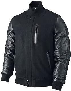 Michael B Jordan Kobe Destroyer XXIV Battle Letterman Varsity Wool and Real Leather Sleeves Adonis Creed Black Bomber Jacket