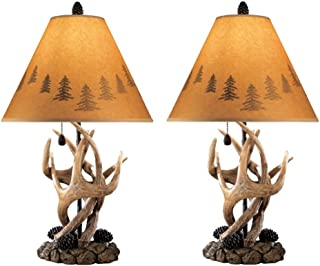 Signature Design by Ashley – Derek Antler Table Lamp – Mountain Style Shades..
