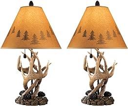 Ashley Furniture Signature Design - Derek Antler Table Lamps - Mountain Style Shades - Set of 2 - Natural Finish