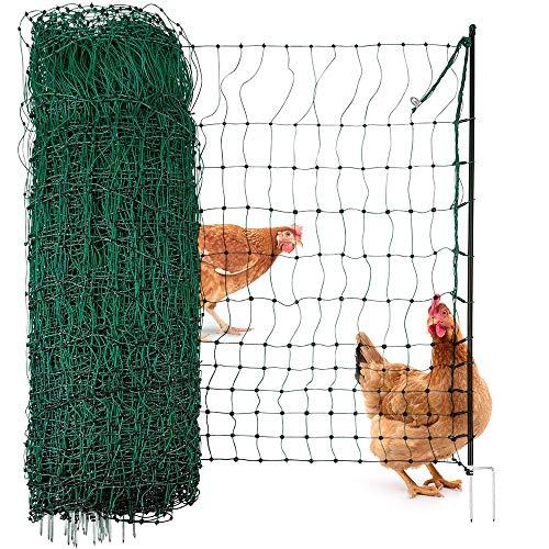 Agrarzone Geflügelnetz Geflügelzaun ohne Strom grün 25m x 112cm | Hühnerzaun mit Doppelspitze & Pfähle | geringe Maschenweite & extrem standfest | Hühnernetz Weidezaun für sichere Geflügelhaltung