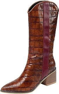 Zanpa Women Fashion Half Boots Block Mid Heels