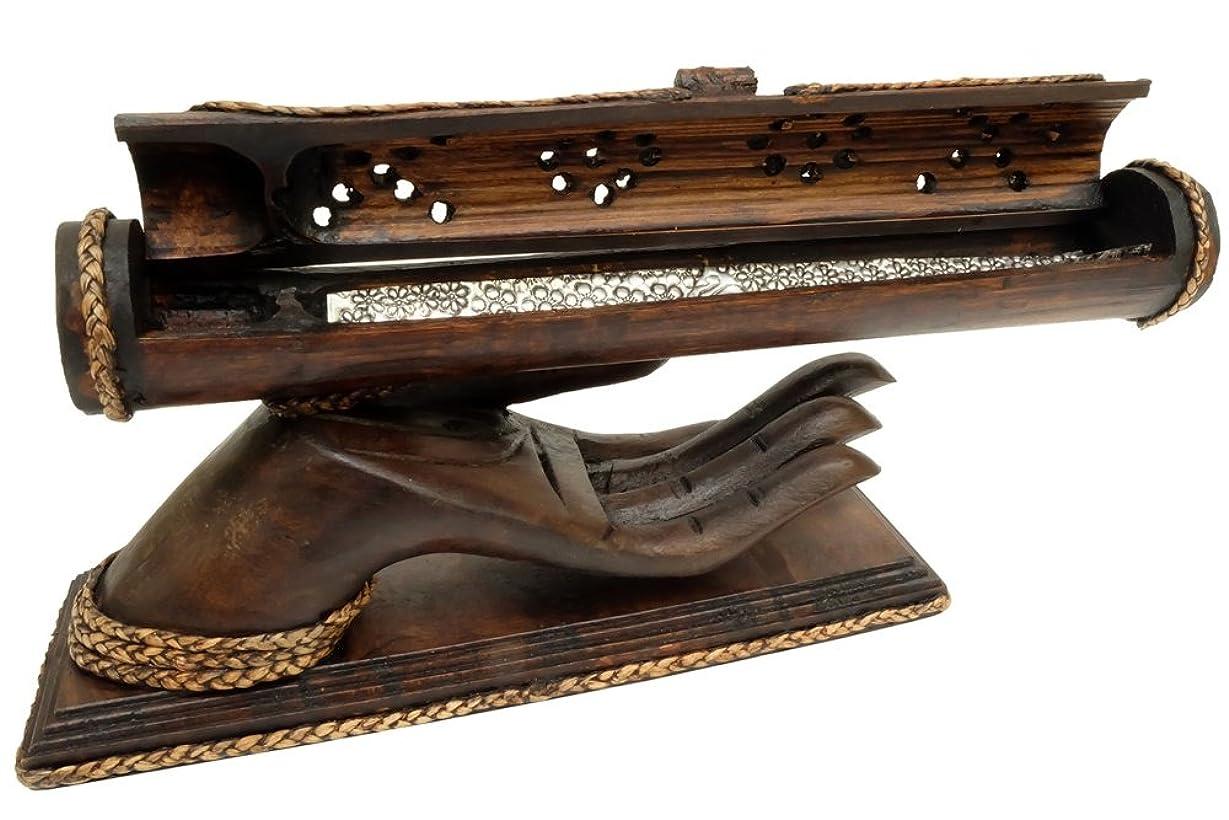 セーブ委任脈拍デザインby unseenthailand竹Trough木製ハンドメイドIncense Burner Ashキャッチャーwithチーク材手ホルダー。 ブラック