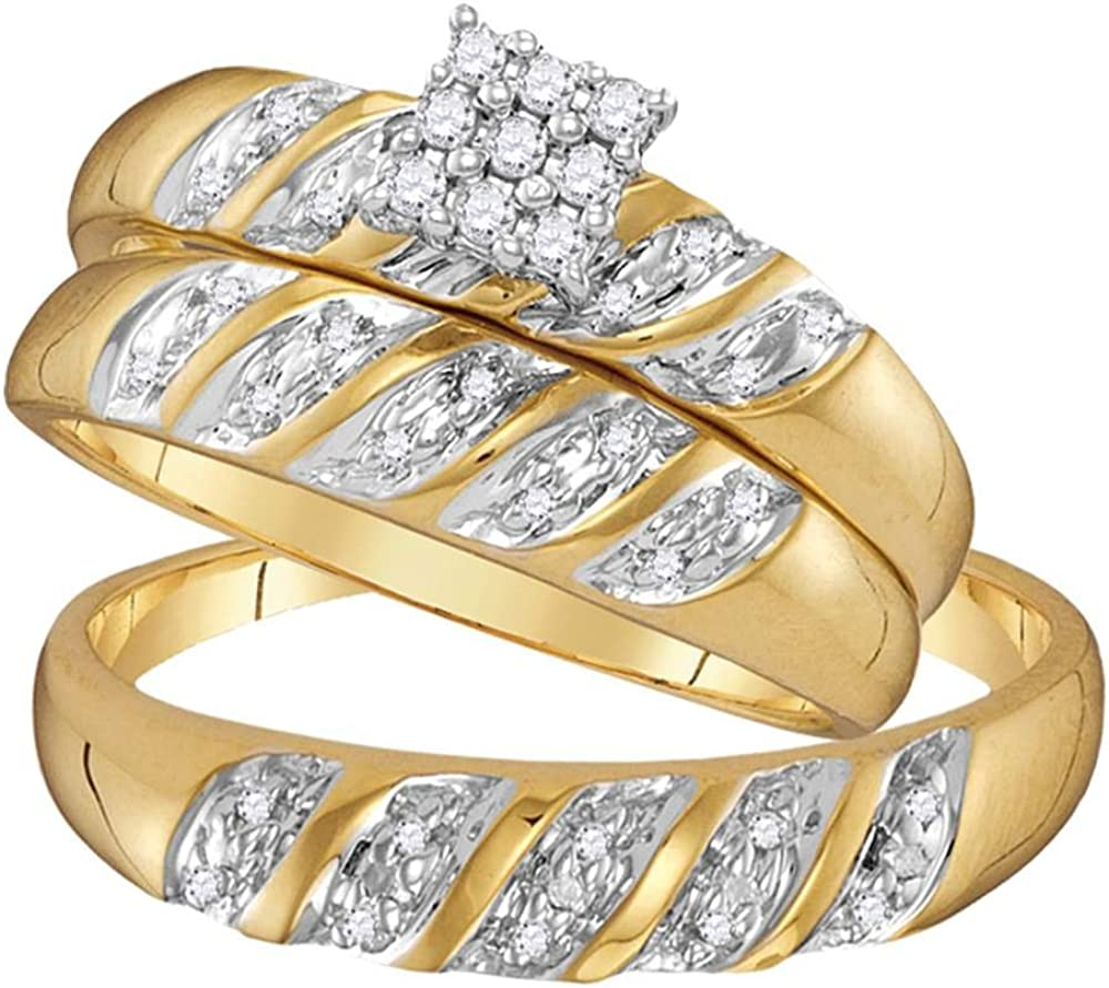 10k Yellow Gold Mens and Ladies Couple His & Hers Trio 3 Three Ring Bridal Matching Engagement Wedding Ring Band Set - Round Diamonds - Princess Shape Center Setting (.09 cttw) - Please use drop down menu to select your desired ring sizes