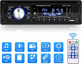 Multimedia Car Stereo, Single Din LCD Bluetooth Car Audio FM Radio Player Digital Media Receiver Support FM/AM/USB/TF/MP3/WMA/Aux-in with 7 Color Backlit, Hands-Free Calling/Built-in Microphone