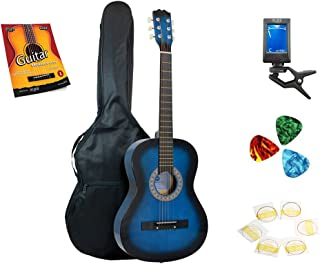 Star 6 Acoustic Guitar 38 Inch with Bag, Tuner, Strings, Picks and Beginner's Guide, Blueburst (831-BTSPM-BLB)