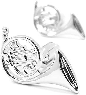 MFYS Jewelry 金管楽器 シルバー ホルン カフス 音楽 カフリンクス 【専用収納ケース付き】