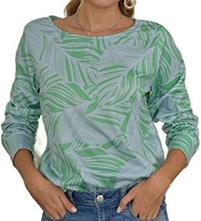 Miracle Womens Fall Round Neck Leaf Print T Shirt Long Sleeve Tunic Tee