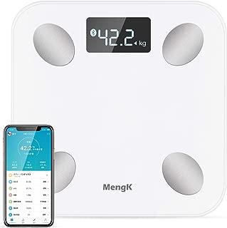 体重計,MENGK bluetooth体脂肪計·体組成計、ヘルスメーター、体重計、体脂肪計、体重/BMI/体脂肪率/筋肉率/水分/骨量/基礎代謝率/蛋白率など測定ができる