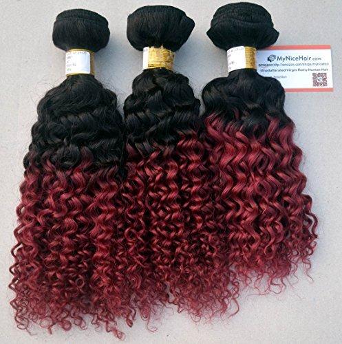 3 Lots/Lot 12 12 35,6 cm brésilien deux ton ombre 1b #/Bordeaux Extensions cheveux Humains Remy Tissage kinkys bouclés 300 grammes, épais et complet