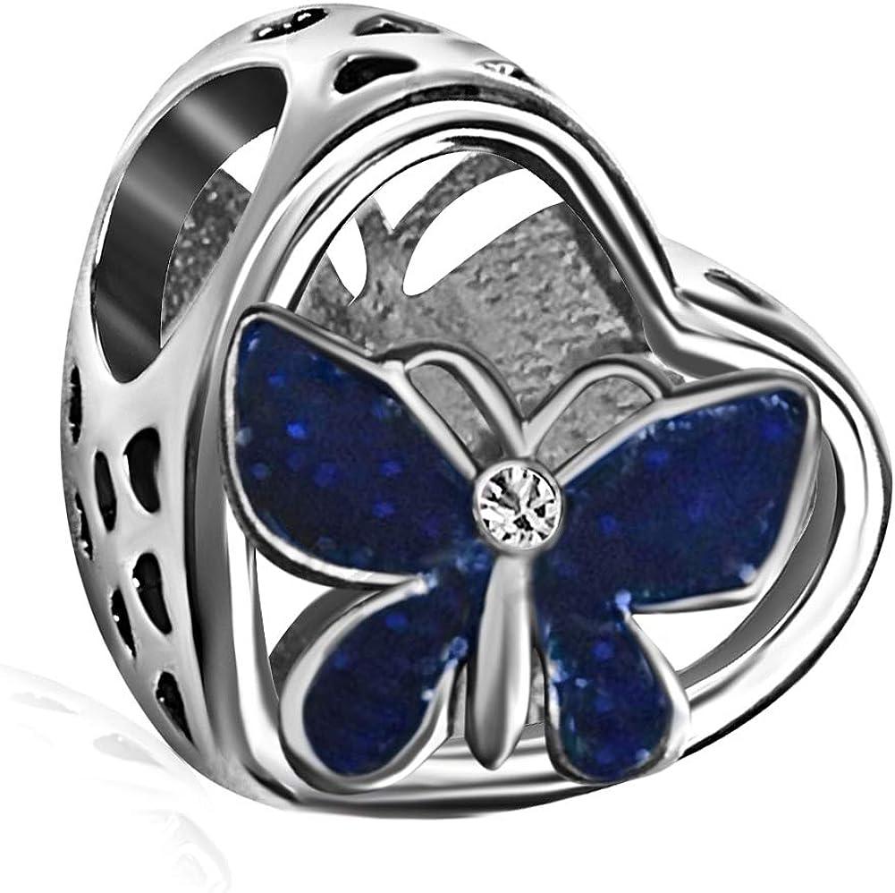 JMQJewelry Lucky Butterfly Heart Dangle Charm for Bracelets Mothers Christmass Day