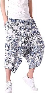 59e128ffba wodceeke Summer Harem Pants for Men, Wide Crotch Harem Cotton Linen  Wide-Legged Bloomers
