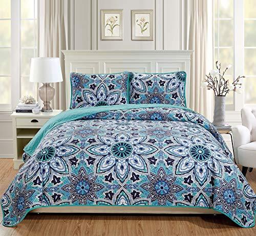 Tagesdecke aus Leinen, Übergröße, gesteppt, Blumenmuster, Türkis, Grau, Weiß, Marineblau Full/Queen