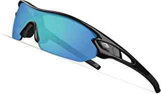 Polarized Sports Sunglasses with 3 Interchangeable Lenses for Men Women Cycling Running Driving Fishing Golf Baseball Glasses TR002(Upgrade)