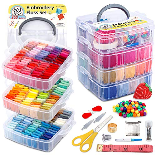 INSCRAFT 403 Pack Embroidery Floss Set, 250 Colors Cross Stitch Friendship Bracelet Thread with 153 Pcs Cross Stitch Tool, 4-Tier Transparent Box for Storage