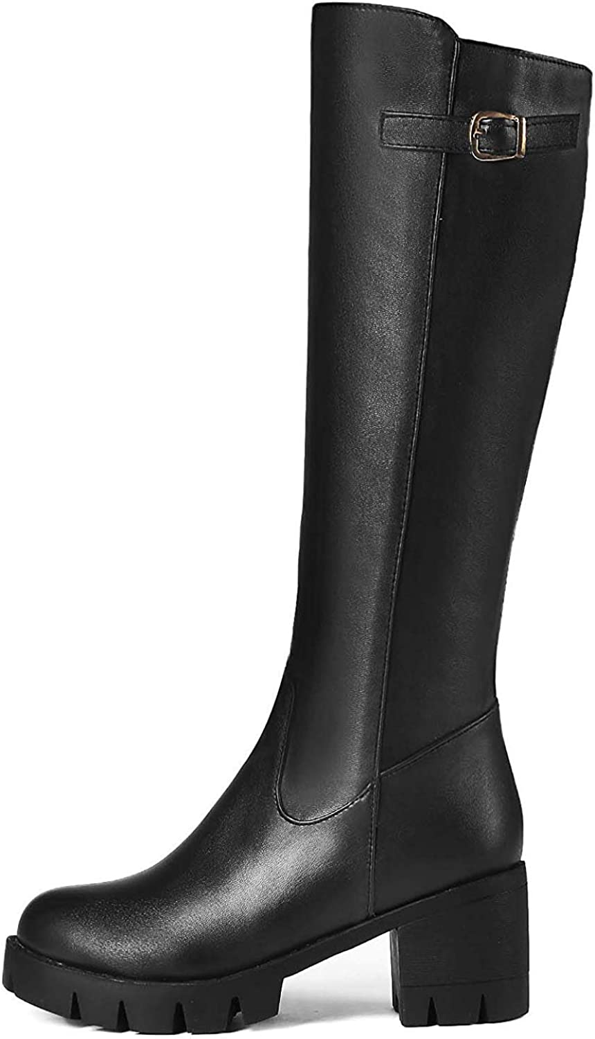 Unm Women's Stylish Buckle Strap Mid Block Heel Tall Boots Round Toe Platform Knee High Knight Boots with Zipper