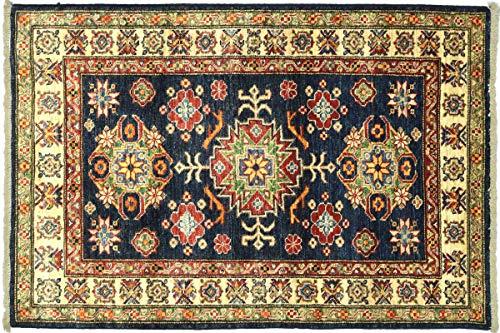 Afghan Kazak Fein 119x88 Handgeknüpft Teppich 90x120 Schwarz Umrandung
