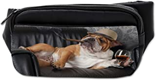 Ambesonne Bulldog Bumbag, Humorous Dog Drinking, Fanny Pack Hip Waist Bag