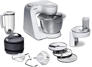 Bosch MUM58W20 Robot culinaire CreationLine, acier inoxydable, 3,9 litres, Argent, blanc