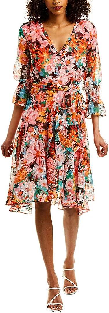 Tahari ASL Women's Long Sleeve Surplus Wrap Dress with Smocking Detail