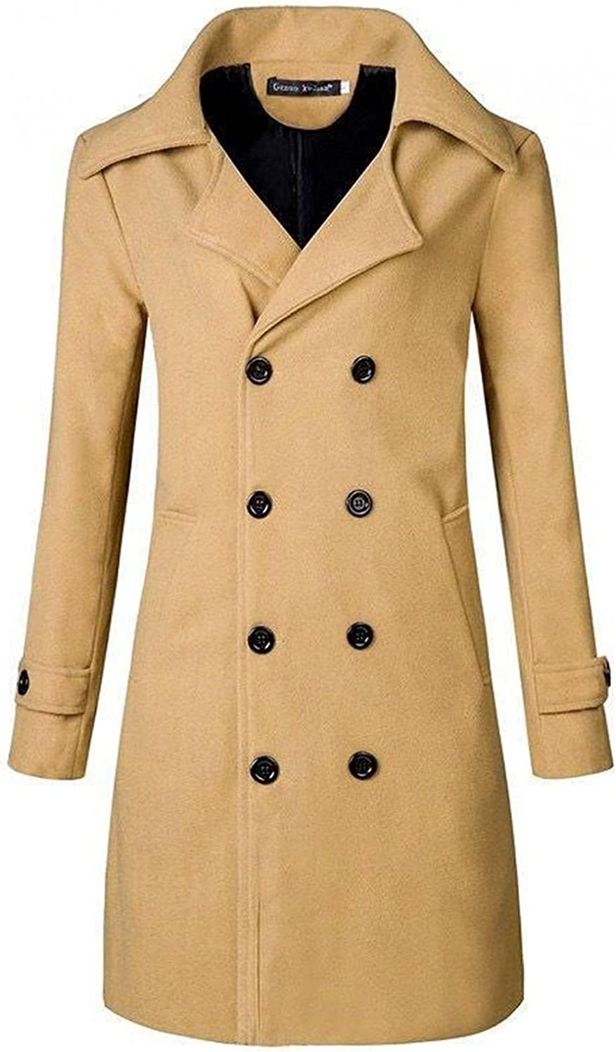 Men's Trench Coats Double Breasted Long Jackets Casual Slim Fit Business Overcoats Thicken Thermal Windproof Outwears