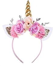 Kids Girls Unicorn Headband Gold Horn Ears Flower Headband Glitter Horn Headband Flowers Headwear Accessory