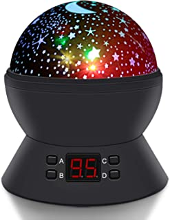 Lighting Night Light, SCOPOW Star Moon Decorative Projector with Auto-Shut Off Timer, 360 Rotating Colorful Night Lamp for Bedroom Nursery Kid Baby Children Creativity Ingenuity Birthday Gift