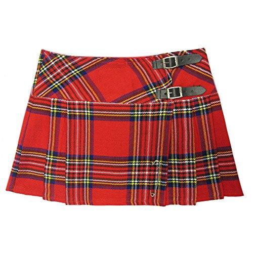 Viper London Mini Kilt mit Falten 33 cm Tartan, Rot, 38 (Herstellergröße: 32)